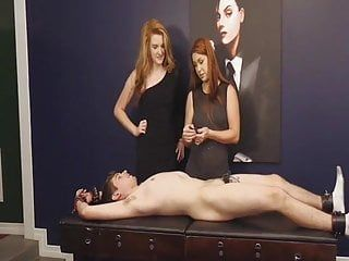 Mastix and her girlfriend shock punishment chastity bondman