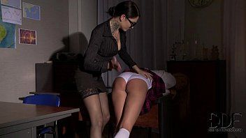 Schoolgirl receives her wazoo pressed with a strap-on by teacher
