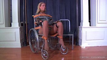 Blond milf cherie deville bound gagged in a straitjacket and wheelchair smoke