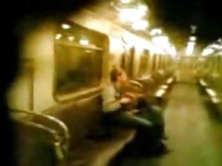 Homemade movie scene of pair on moscows tube